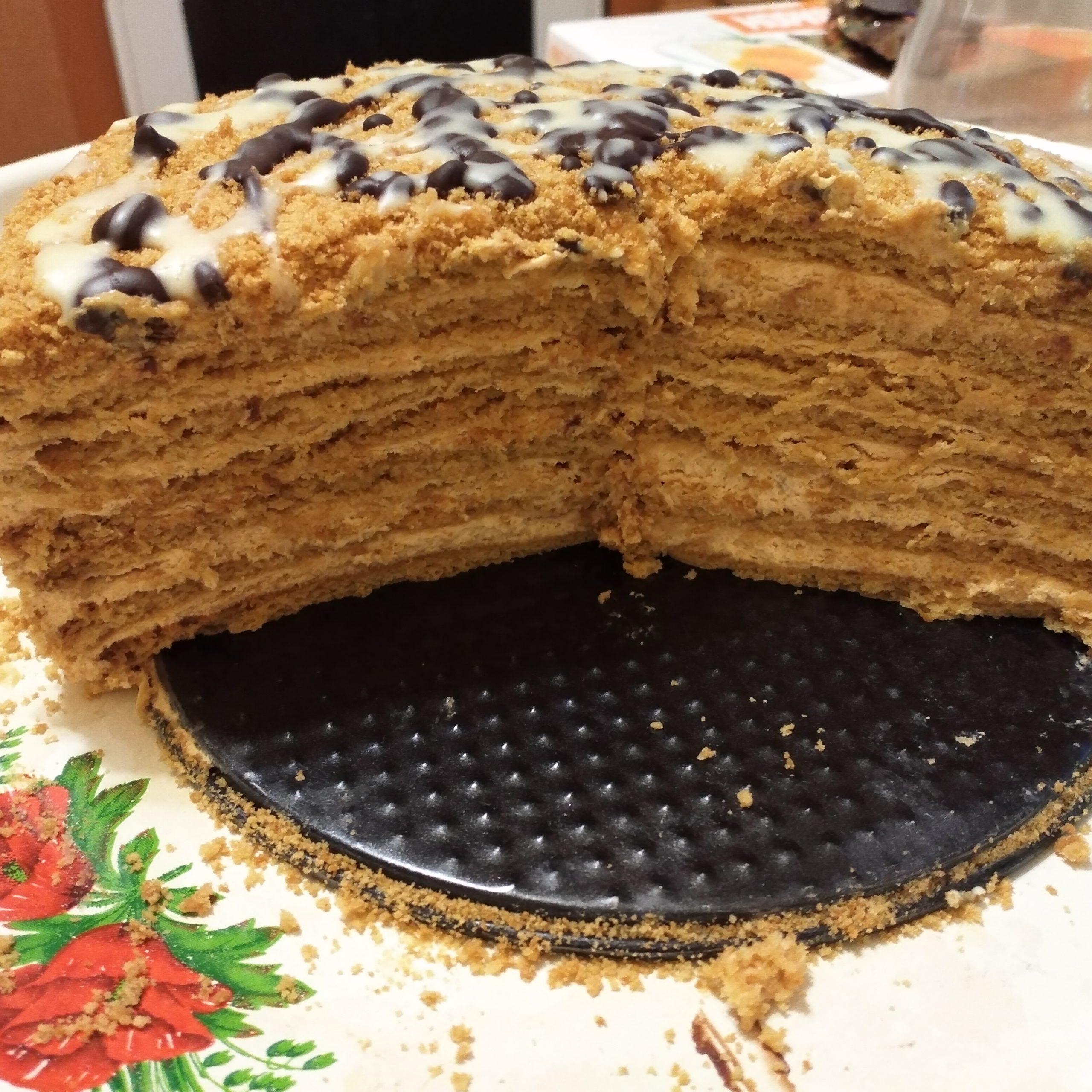 Медовый торт со сгущенкой рецепт с фото мастиф